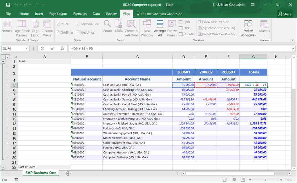 Informe ad-hoc creado con BI360 Composer y exportado a Excel